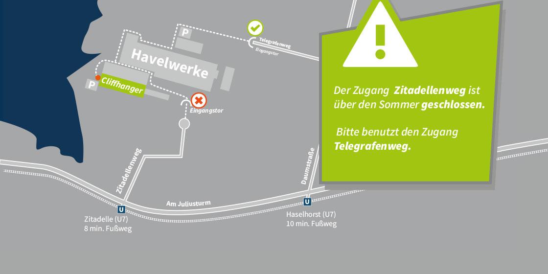 Zugang Zitadellenweg gesperrt