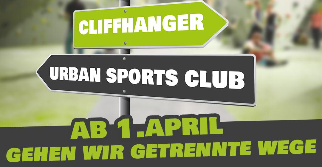Cliffhanger und Urban Sports Club gehen getrennte Wege